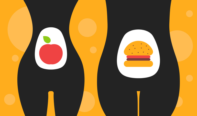 Healthy and junk food concept. Comparison of slim and overweight body. Apple versus hamburger. Vector illustration