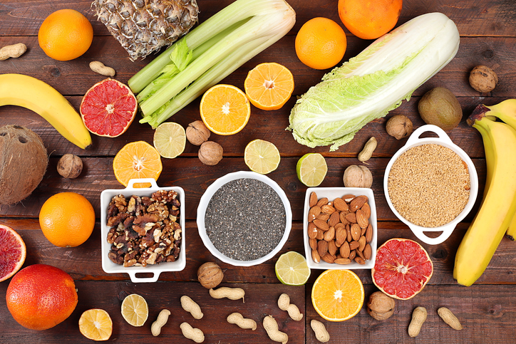 Healthy natural dietary food. Selection of fresh fruits and vegetables with vitamin C for strengthening the immune system and losing weight, detox diet concept, food delivery, selective focus