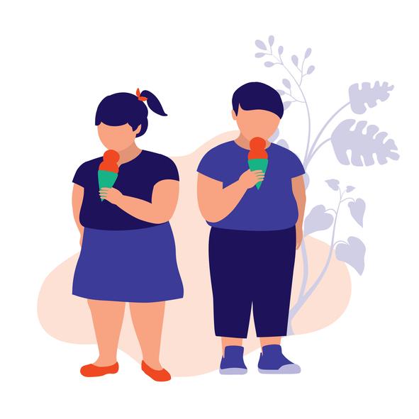 Fat Boy And Girl Eating Ice Cream. Unhealthy Eating Concept. Vector Flat Cartoon Illustration.