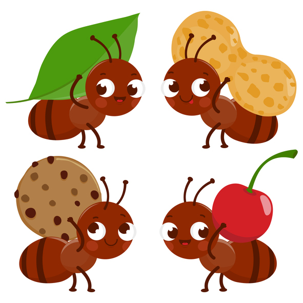 Cute ant cartoons carrying food. Vector illustration